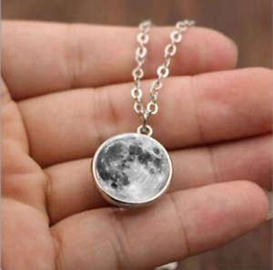 Full Moon Necklace, Double Sided Lunar Necklace.  Pagan, Wiccan, Druid