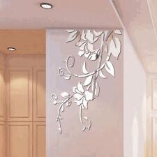 3D Mirror Floar Art Vinyl Wall Sticker DIY Home Room Mural Decor Removable Decal