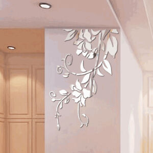 Modern 3D DIY Mirror Flower Art Acrylic Wall Sticker Mural Decal Home Decor US