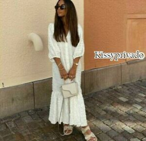 ZARA White Textured Ruffled Hem Voluminous Sleeve Midi Dress XL BNWT 5216 240