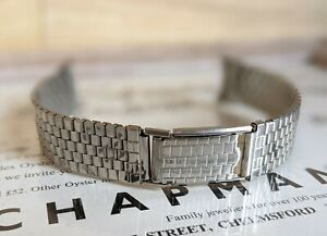 Mens Art Deco Curved Lug Brick Stainless Steel Watch Bracelet Strap - 17.5mm