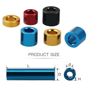 Aluminum Alloy Bushing Gasket Color Round Sleeve Unthreaded Spacers Standoff