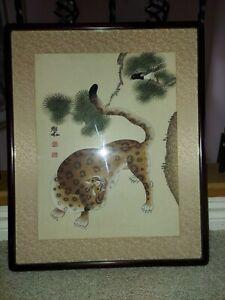 Korean Antique/ Vintage Tiger & Magpie  Minwha Signed & 2 Stamps