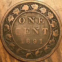 1891 CANADA LARGE CENT LARGE 1 CENT COIN PENNY - LLSD Obverse #3