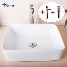 Ceramic White Bathroom Porcelain Vessel Basin Sink Chrome Faucet Drain Combo New