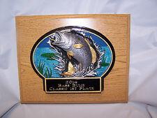 "BASS FISHING RESIN OVAL""BURST THRU"" OAK PLAQUE TROPHY AWARD - FREE ENGRAVING!!!!"