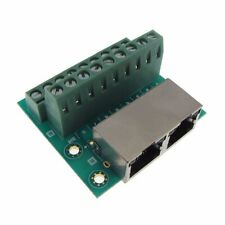 Dual RJ45 Ethernet Breakout Board Module 90D Right Angle Screw Terminals