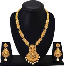 South Indian Traditional Long Gold Plated Necklace Earrings Temple Jewelry Set