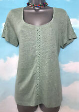 WHITE STUFF 14 BNWT Midnight Green LINEN Jersey Embroidered T-shirt Top