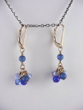 Swarovski Crystal Sapphire and Blue 14k Gold Filled Hand Beaded Earrings