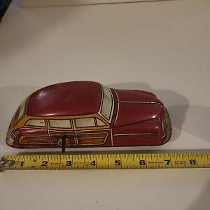 "Vintage 1940s-50s Marx Tin Wind Up Woody Sedan 7JA2 Fuscia Working 7.5"" L"