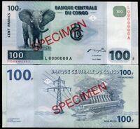 CONGO 100 FRANCS 2000 P 92 L-A SPECIMEN UNC