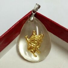 Pure 24K Yellow Gold & Crystal Pendant Lucky Butterfly Pendant
