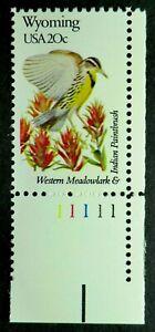 2001 MNH 1982 20c Wyoming PNS Meadowlark Indian Paintbrush Birds & Flowers