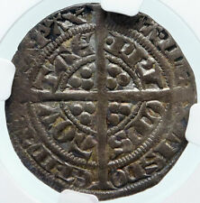 1362-72 ANGLO-GAELIC UK FRANCE Edward the BLACK PRINCE Silver NGC Coin i85324