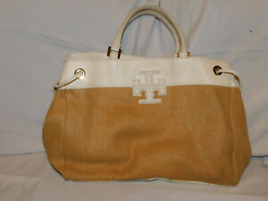TORY BURCH LARGE WHITE LEATHER AND STRAW PURSE