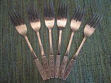 SET 6 DINNER FORKS! Vintage CUSTOMCRAFT stainless: CUS10 pattern: LOVELY!