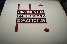 NEW ORDER MOVEMENT  ORIG 1981  USA TRANSPARENT VINYL LP EX
