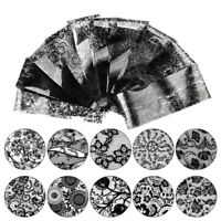 10 Sheets 3D Black Lace Flower Print Decals Nail Art Sticker Decoration Manicure