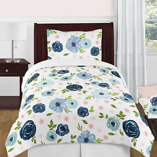Sweet Jojo Navy Blue and Pink Watercolor Floral Girl Twin Bedding Comforter Set