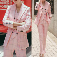 Pink Check Women Suits Plaid Tuxedos Double-Breasted Vested Wedding Work Custom