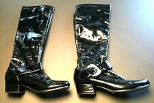 Sam Edelman Black Shiny Patent Leather Knee High Buckle Riding Boots Size 9 M