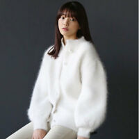 Loose Faux Fur Knitted Cardigan Sweater Womens Cashmere Short Sweet Coat Outwear