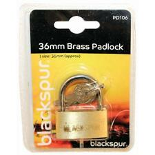 "36mm 1 1/2"" Solid Brass Garage Shed Door Gate Lock Padlock"