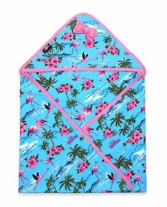 Six Bunnies Tropical Flamingos Hooded Baby Blanket Blue Swaddle Cute Print Gift