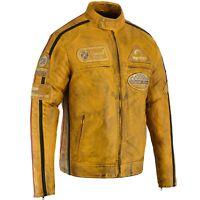 Herren Biker Vintage Motorrad Distressed Cafe Racer Lederjacke Motorrad Cruiser