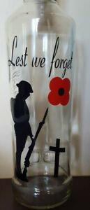 2 Vinyl Decal Stickers for Wine bottle Lest we forget Poppy Day Remembrance Day