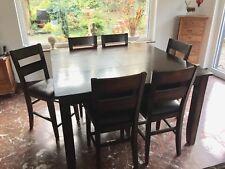 Tisch XXL 6 Stühle Tischset Mangoholz Vollholz ausziehbar Ledersitzbezug