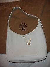 HERMES : sac à main TRIM 31cm blanc Taurillon Clemence