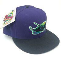 Vintage Tampa Bay Devil Rays New Era 5950 Pro Model Fitted Hat Purple Top Black