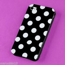 S Black White Dots Back Skin Hard Cover Case for Apple i-phone 4 4S 4G G S
