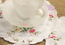 "6PCS 8"" Fabulous White Round HAND Embroidered Floral Cotton Doily cupmat"