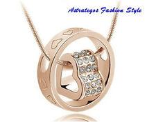 Halskette mit Ring-Anhänger und Herz,18K vergoldet,Swarovski-Elements