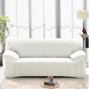 1/2/3/4 Seater Stretch Sofa Settee Couch Covers Solid Color Elastic Slipcovers