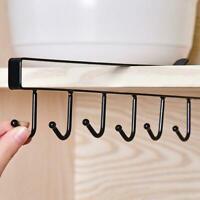 Kitchen Cup Holder Cabinet Shelf Storage Rack 6 Home Organizers Hooks R7Z2