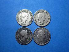 Switzerland 1903 B, 1905 B, 1908 B, 1920 B, Bern HELVETIA - 5 Rappen, 4 coin lot