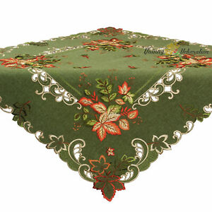 Autumn Leaves Embroidery Tablecloth Table overlay Doily Linen-Look Green