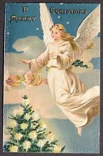Beautiful Angels in Sky Clouds Stars Over Candle Lit Christmas Tree pc ca 1910