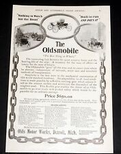 1903 OLD MAGAZINE PRINT AD, THE OLDSMOBILE, NOTHING TO WATCH BUT THE ROAD, $650!