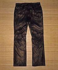 pantalon QUIKSILVER en cuir bronze taille basse coupe jean taille 36 fr TBE