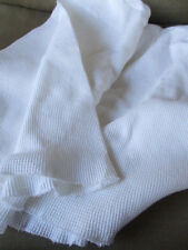 "Solid White Ribbed Thermal Stretch Knit Fabric 36""x36"" Double Folded Piece"