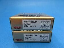NSK 7006CTYNSULP4 Abec-7 Super Precision Spindle Bearings. Matched Set of Two
