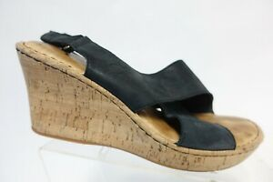 BORN Leather Black Sz 10 M Women Cork Wedge Sandals