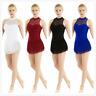 Adult Women's Mesh Splice Leotard Ballet Dance Dress Gymnastics Bodysuit Costume