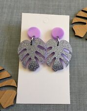 Monstera Leaf Dangle Earrings, Lilac Purple Acrylic Glitter, Surgical Steel Stud