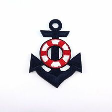 Embroidered Iron On Patch Navy Marine Anchor Logo Decor Badge Craft DIY